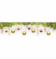 christmas tree branches with baubles vector image
