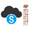 cloud banking icon with valentine bonus vector image vector image