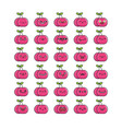collection kawaii cherry fruits emoticons vector image