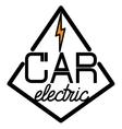 Color vintage electric car emblem vector image