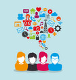 community with social media icons vector image