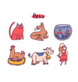cute animals cartoon set vector image