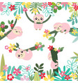 cute sloth in sweet forest cartoon pattern vector image vector image