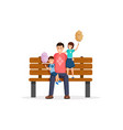 dad and kids in park flat vector image vector image