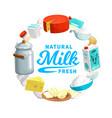 dairy farm food icon milk cheese and yogurt vector image vector image
