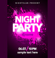 dance party poster with splash and ink splatter vector image vector image