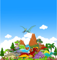 Dinosaur cartoon with landscape background vector image vector image
