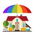 family house with big colorful umbrella - parasol vector image