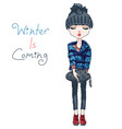 fashion girl in winter clothes vector image vector image