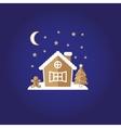 festive gingerbread house man stars vector image
