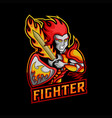 fighter sword fire mascot vector image vector image