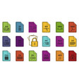 file type icon set color outline style vector image vector image