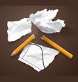 financial crisis scraps paper chart broken pencil vector image