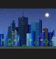 flat style modern design of urban night city vector image vector image