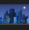 flat style modern design urban night city vector image vector image