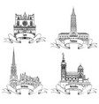 france attraction sign set famous french city vector image vector image