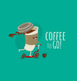 funny paper coffee cup on scooter with coffee vector image vector image