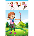 Girl doing archery and other sports vector image