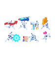 group different robots on isolated white backgroun vector image vector image