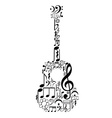 Guitar figure composed of notes vector image vector image