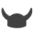 halftone dot horned helmet icon vector image vector image