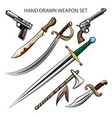 hand drawn weapon set vector image vector image