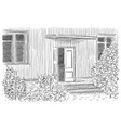 ink entrance house on white vector image