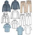 jacket pants shirt apparel sketch fashion man boy vector image vector image