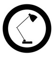 lamp icon black color in circle vector image
