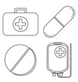 line art black and white first aid kit content set vector image