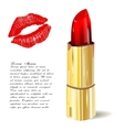 Lipstick isolated with lips trace on white vector image