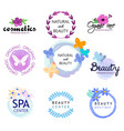 logos of natural health and beauty spa beauty vector image vector image
