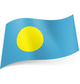 national flag of palau yellow circle on blue vector image vector image