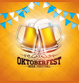 oktoberfest banner with fresh beer vector image vector image