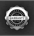 one year warranty silver badge isolated on white vector image vector image