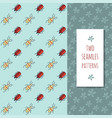 patterns set with cute bugs and flowers vector image