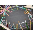 School supplies on blackboard background EPS 10 vector image vector image