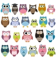 set cartoon owls with various emotions vector image vector image