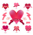 Set heart banners ribbons love badges