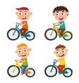 set of cartoon boys riding a bike having fun vector image