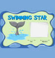 swimming star certificate with dolphin tail vector image vector image