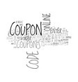 the power of online coupons text background word vector image vector image