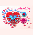 valentine day gift boxes heart shape vector image vector image