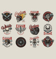 Vintage colorful motorcycle emblems