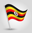 waving simple triangle ugandan flag on slanted vector image vector image