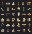 winter decoration icons set simple style vector image vector image