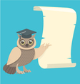 Wise Owl with a Scroll vector image vector image