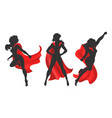 woman superhero silhouette vector image vector image