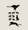 Cheetah Set Silhouettes vector image