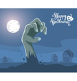 halloween of zombie hand in a graveyard with vector image